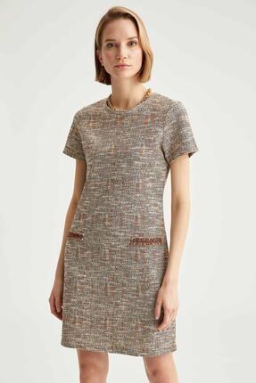 DeFacto Kadın Bej Simli Cep Detaylı Kısa Kollu Keten Elbise