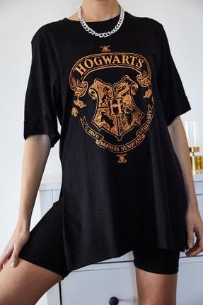 XENA Kadın Siyah Baskılı Yırtmaçlı Boyfriend T-Shirt 1KZK1-11144-34