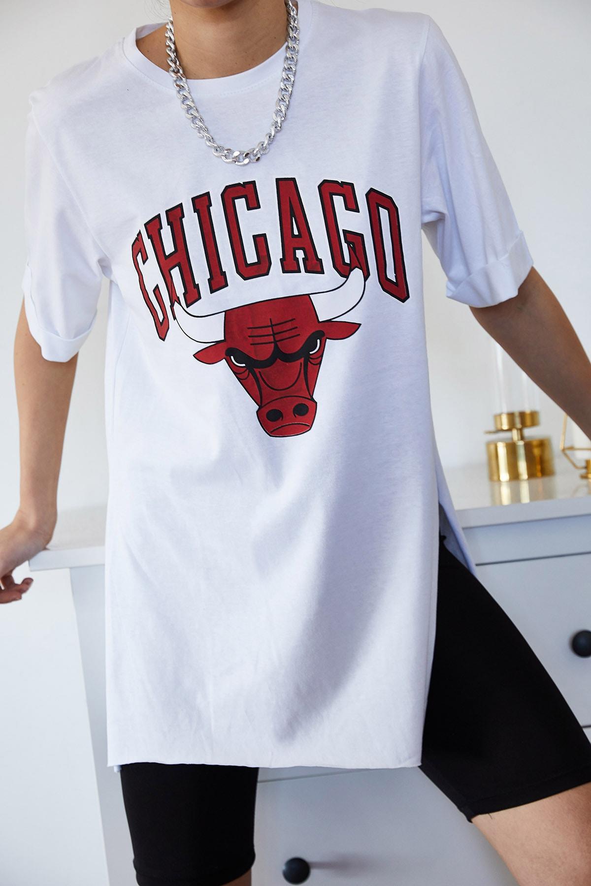 XENA Kadın Beyaz Baskılı Yırtmaçlı Boyfriend T-Shirt 1KZK1-11149-01 1