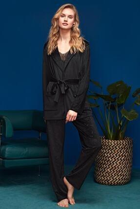 Penyemood Kadın Siyah 3'lü Pijama Set