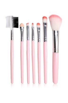 Makeuptime Pembe 7'li Hakiki Deri Çantalı Fırça Seti