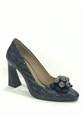D&A İzland Shoes Kadın Lacivert Büyük İncili Fiyonk Topuklu Ayakkabı