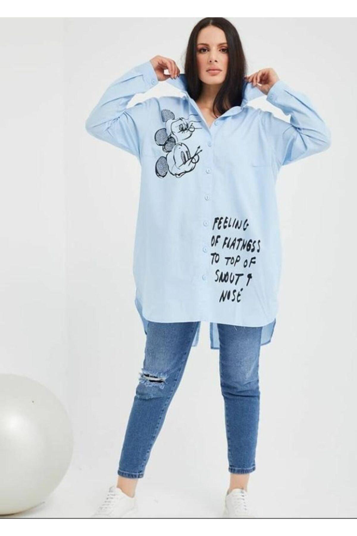 Mickey Mouse Kadın Mavi Gömlek 1