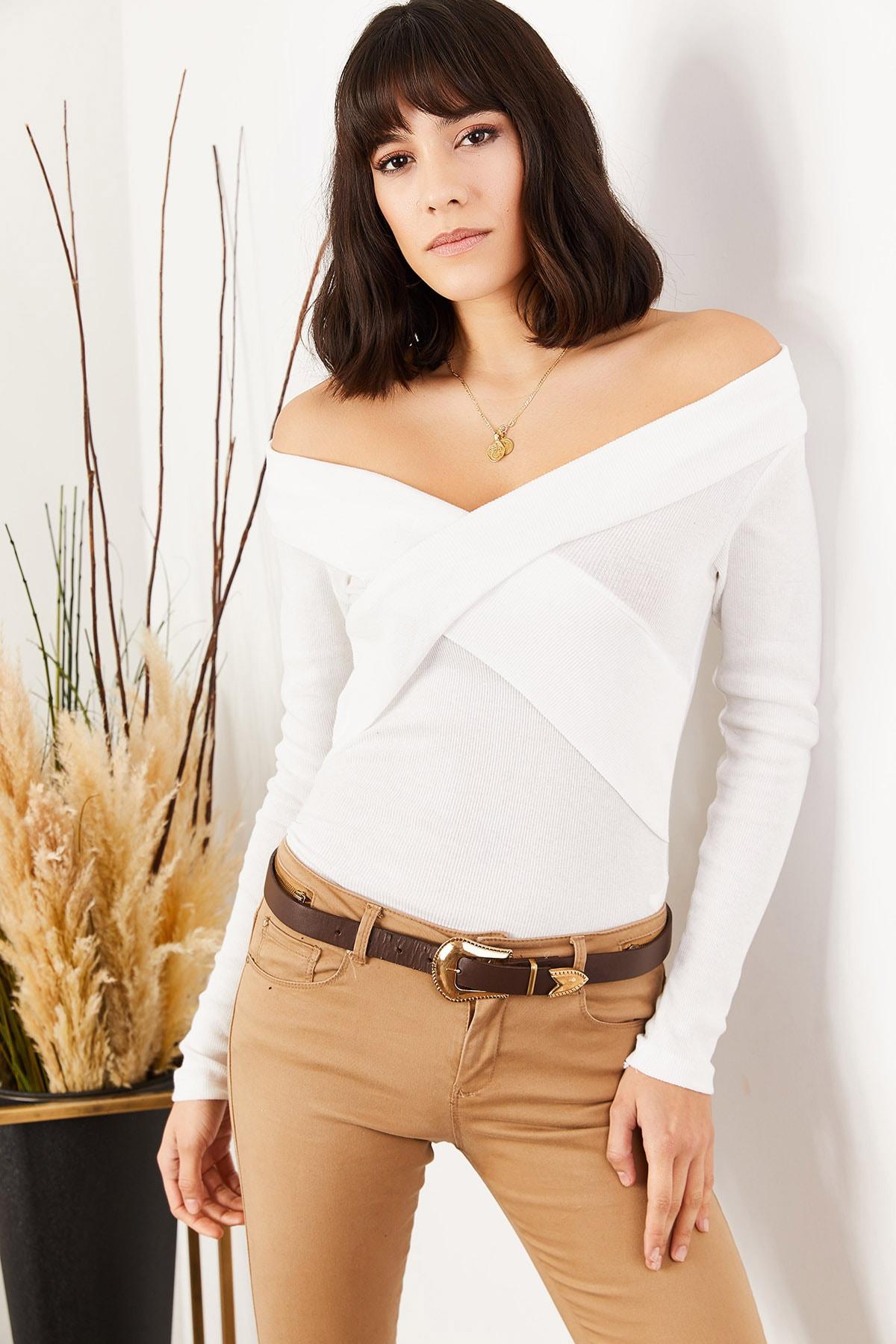 Olalook Kadın Beyaz Çapraz Detaylı Kaşkorse Bluz BLZ-19001271 2