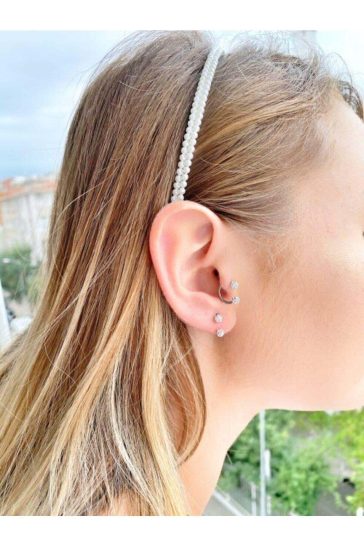 TAKIKRALI Kadın  Taşlı Septum,kıkırdak Piercing 2
