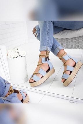 Limoya Kadın Bebek Mavisi Halat Detaylı Hasır Sargılı Dolgu Sandalet