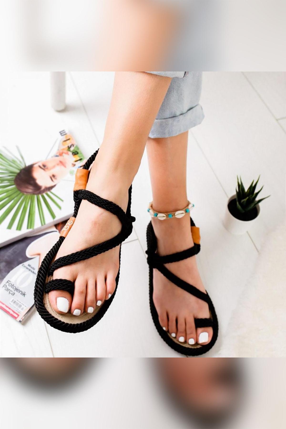 Limoya Kadın Siyah Alexandrea Comfort Halat Sargılı Sandalet 1