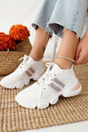 Limoya Kadın Beyaz Triko Strech Sneaker