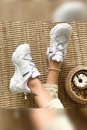 Limoya Kadın Beyaz Bağcık ve Lastik Detaylı Kalın Tabanlı Sneakers