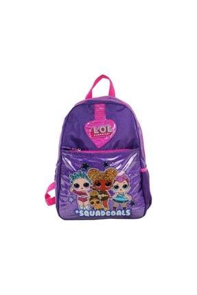 LOL 9727 Okul Sırt Çantası Mor Renk Pembe İşlemeli