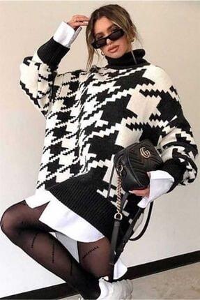 Madmext Kadın Siyah Balıkçı Yaka Örme Kadın Kazak Mg845