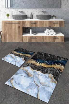 Dekolia Maden Mavi Kaymaz Tabanlı İkili Dekoratif Banyo Paspası