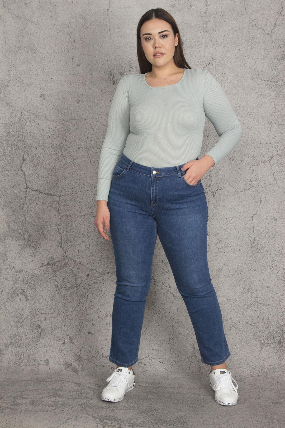Şans Kadın Mavi 5 Cepli Likralı Kot Pantolon 65N21988 2