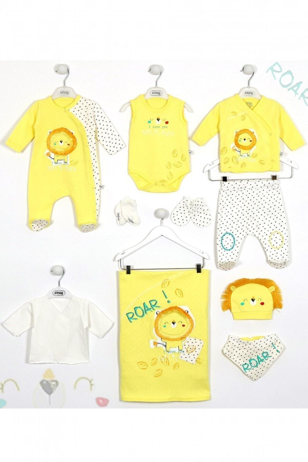 İmaj Erkek Bebek Sarı Uykucu Aslan 10'lu Hastane Çıkış Seti 1