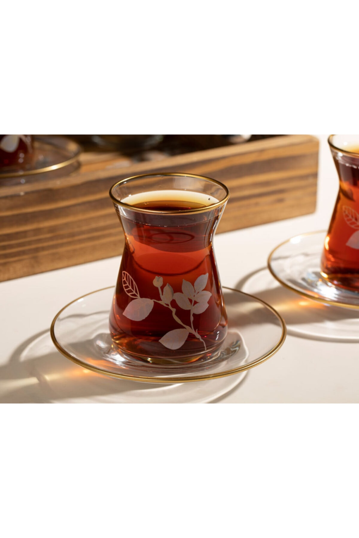 English Home Şeffaf Bahar Dalı Cam 12 Parça Çay Seti 130 ml 2