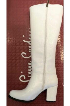 Pierre Cardin 50771 Kadın Beyaz Kırışık Rugan  Çizme
