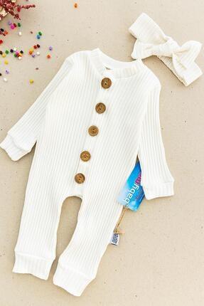 Babymod Düğmeli Bandanalı Organik Kız Bebek Tulum