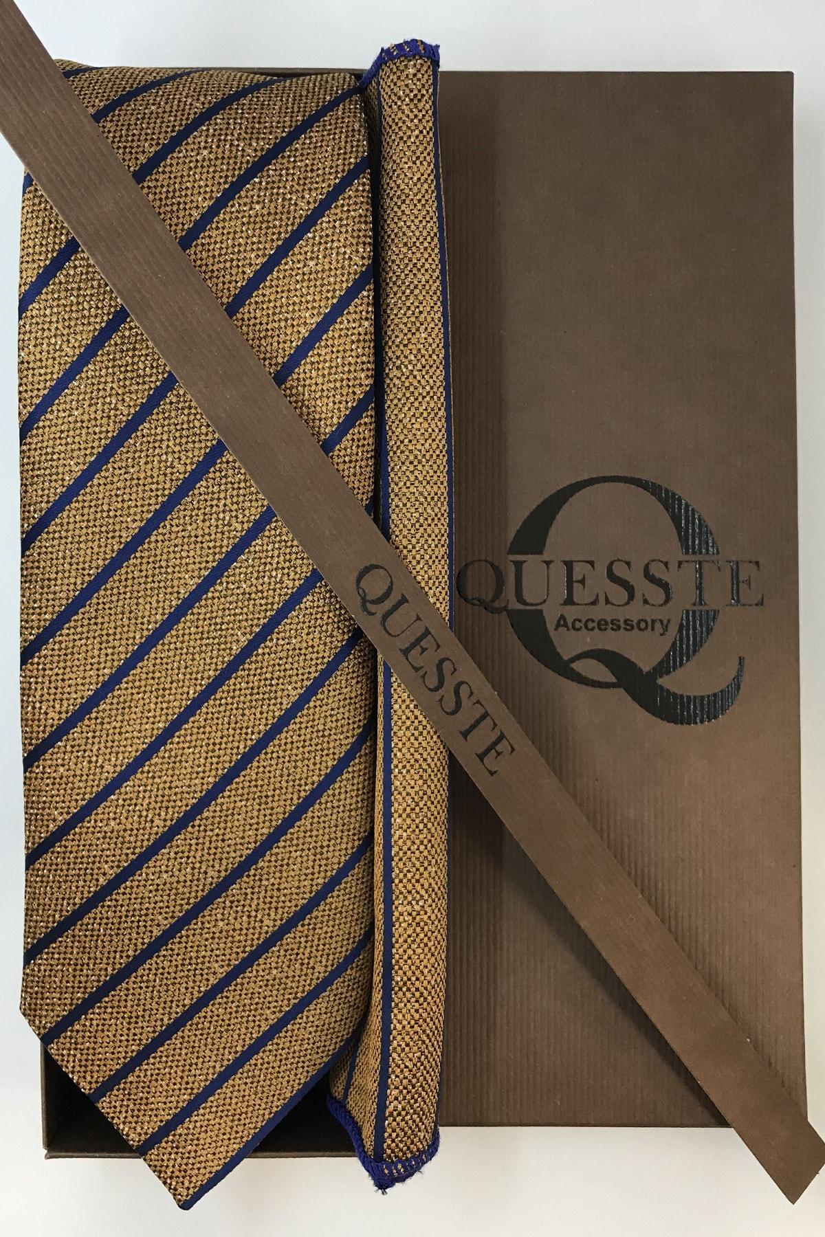 Quesste Accessory Erkek Gold Lacivert Çizgi Desenli Kravat Mendil Kutulu Set 2