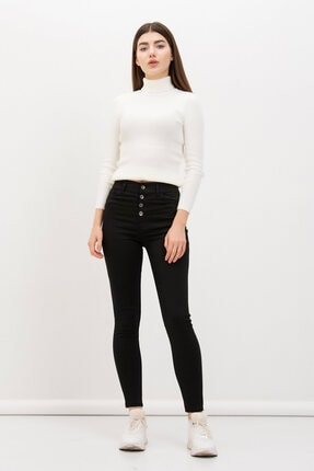 Mossta Kadın SiyahDört Düğmeli Likralı Pantolon