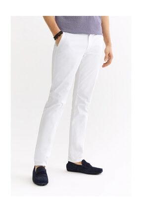 Avva Erkek Beyaz Yandan Cepli Armürlü Slim Fit Pantolon A01s3071