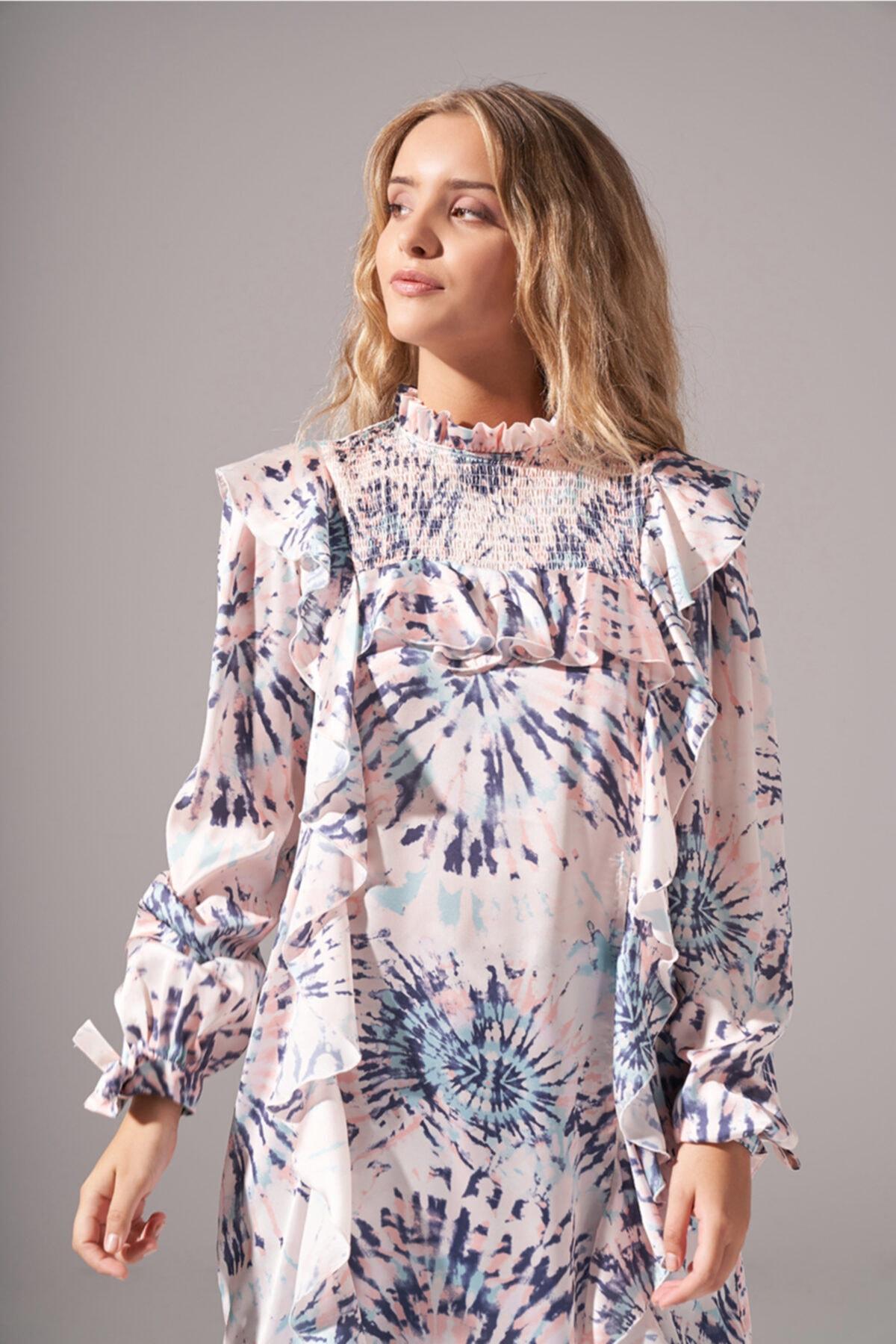 Mizalle Batik Desenli Bluz (Somon) 2
