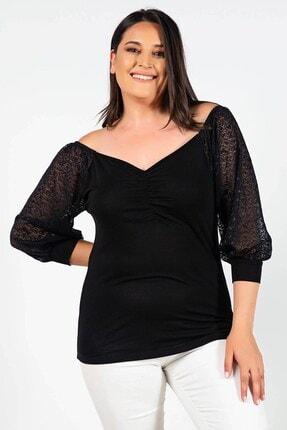 Womenice Büyük Beden Siyah Kolları Pullu Dantelli Bluz