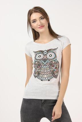 TENA MODA Kadın Kar Melanj Baykuş Baskılı Tişört