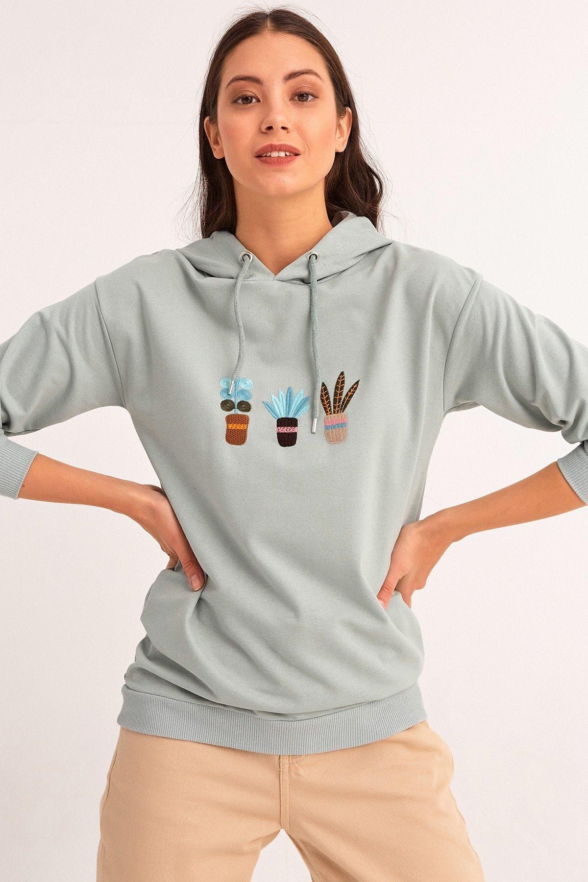 Fulla Moda Kaktüs Nakışlı Kapüşonlu Sweatshirt 1