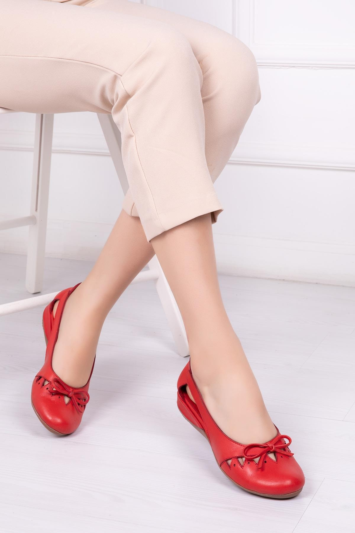Deripabuc Hakiki Deri Kırmızı Kadın Deri Babet Trc-2825 1