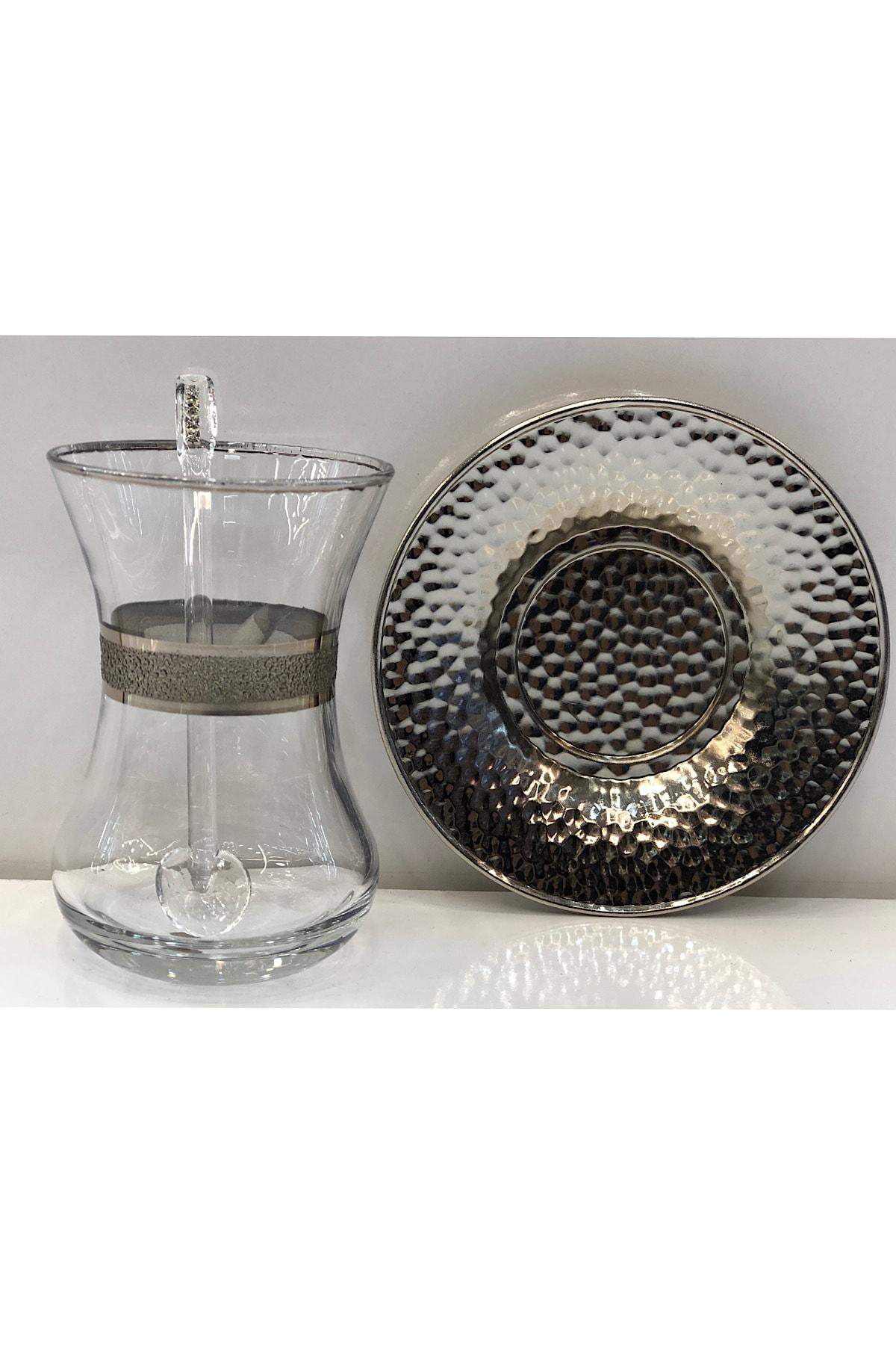 Dalgıç Çay Bardağı Seti 18 Parça Gümüş 2
