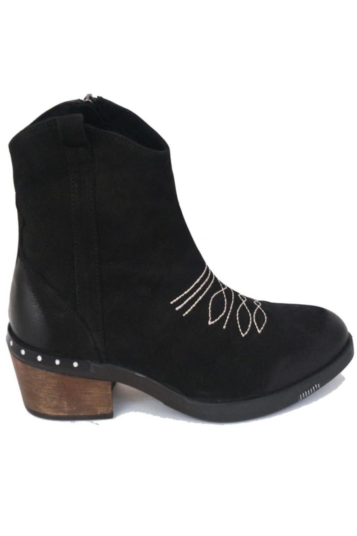 Ustalar Ayakkabı Çanta Siyah Kadın Western Hakiki Deri Bot 401.53-08 2