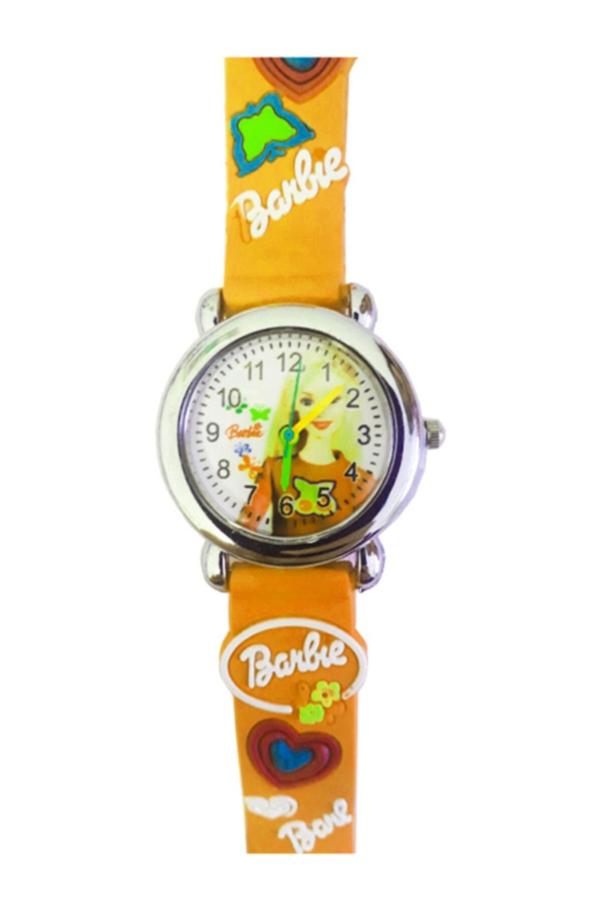 Barbie Figürlü 3d Kabartmalı Silikon Kayışlı Çocuk Kol Saati - Turuncu 1