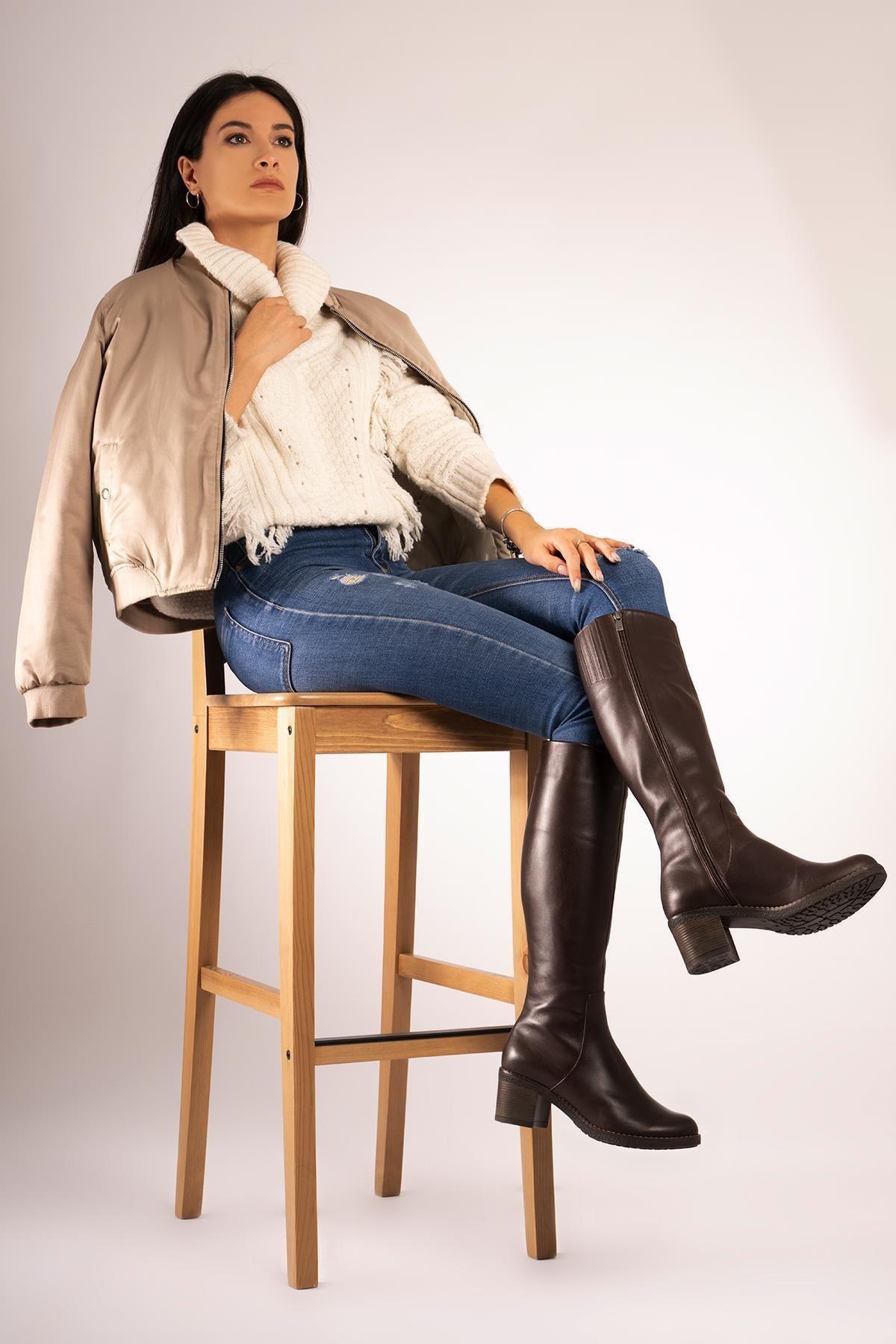 CZ London Hakiki Deri Kalın Taban Topuklu Çizme Fermuarlı Kışlık Uzun Boy 1