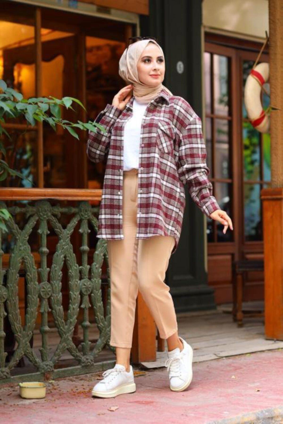 Moda Perla Kadın Bordo Çıtçıtlı Ekose Gömlek 4002-67 1