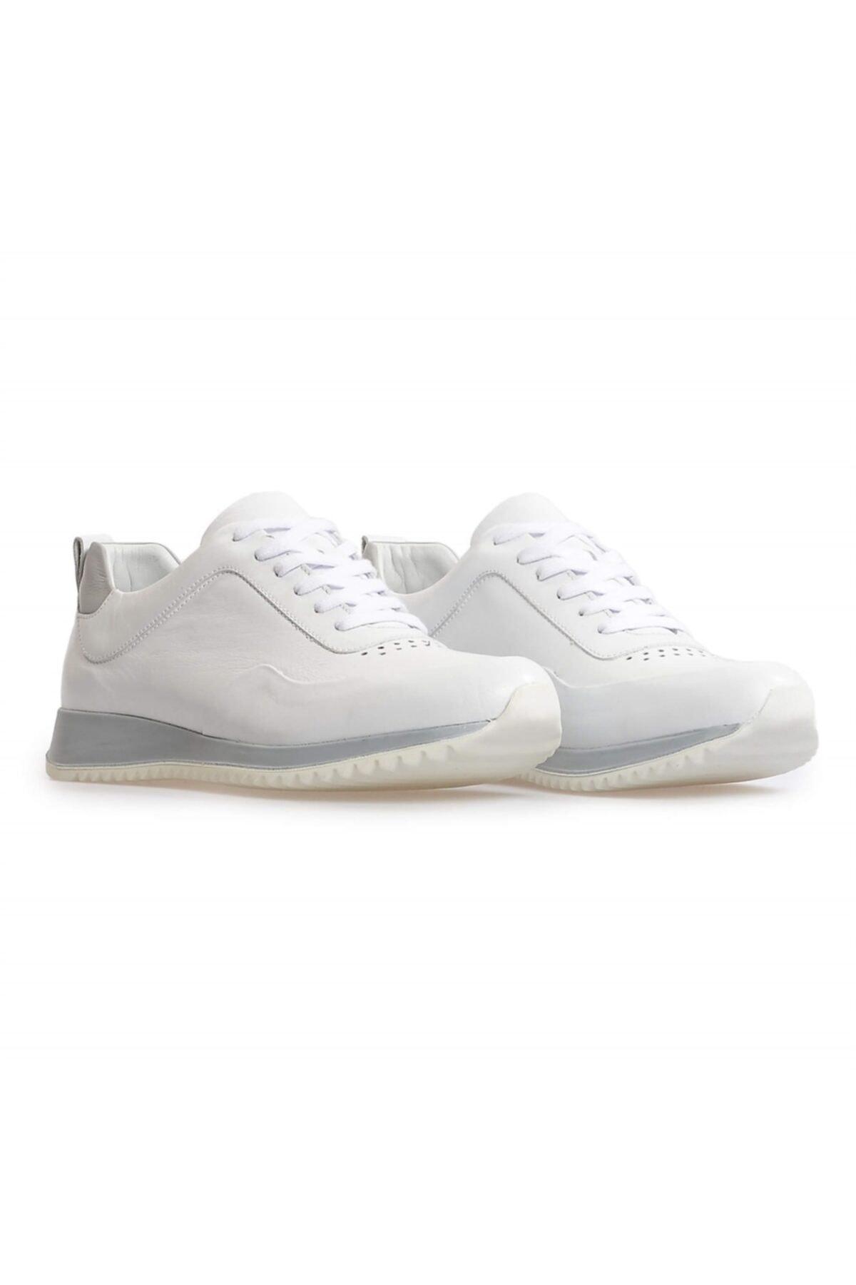 Flower Beyaz Deri Bağcıklı Sneakers 2