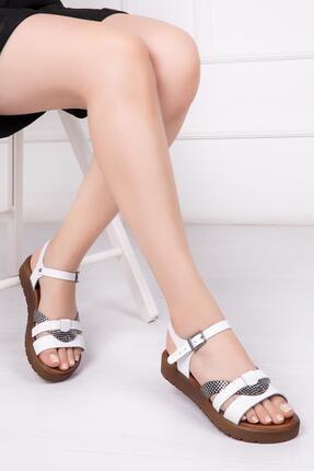 Deripabuc Hakiki Deri Beyaz X3 Kadın Deri Sandalet Dp-1014