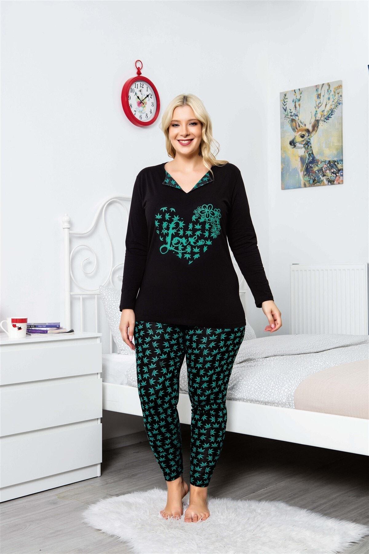 MyBen Büyük Beden Pijama Takımı V-yaka Çiçek Desenli Uzun Kollu Battal Beden Taytlı Pijama Takımı 16114 1