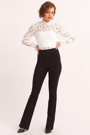 Fulla Moda Dikişli Ispanyol Paça Tayt Pantolon