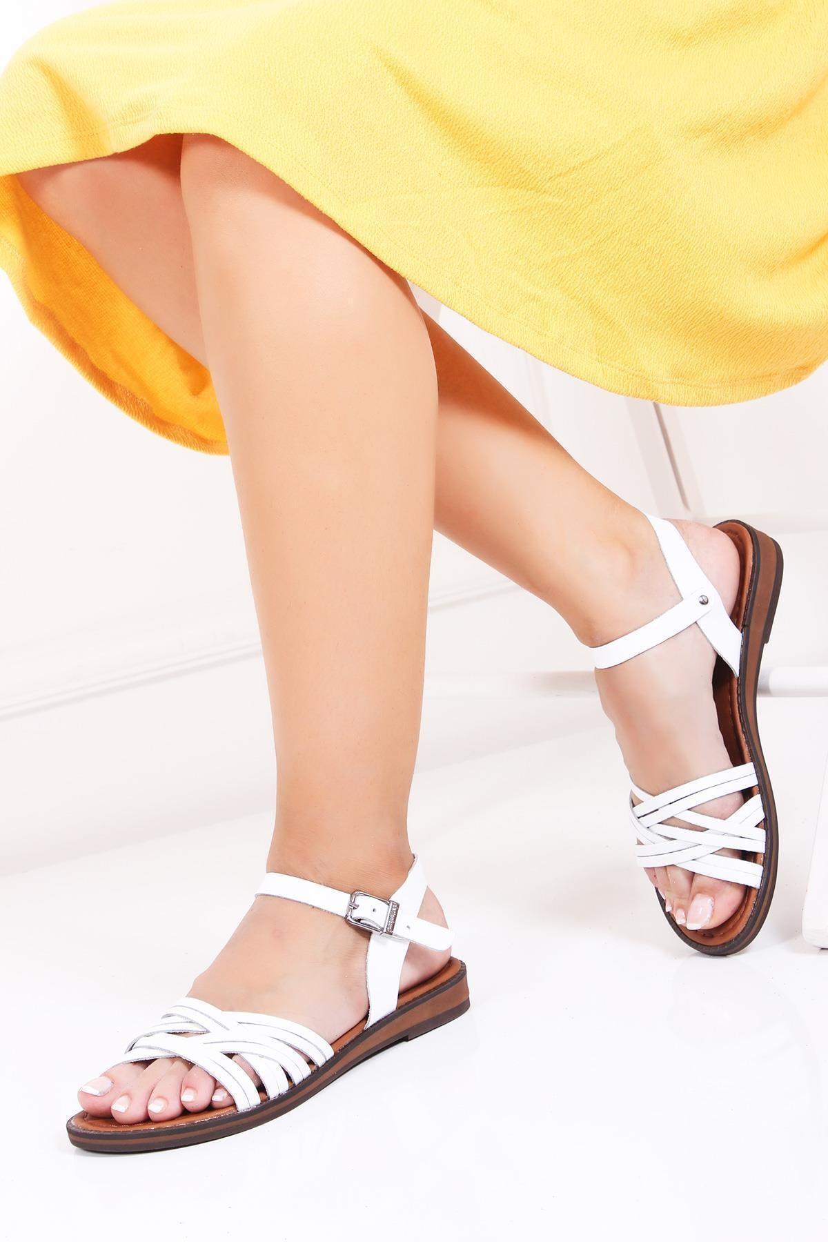 Deripabuc Hakiki Deri Beyaz Kadın Deri Sandalet Dp-0013 1