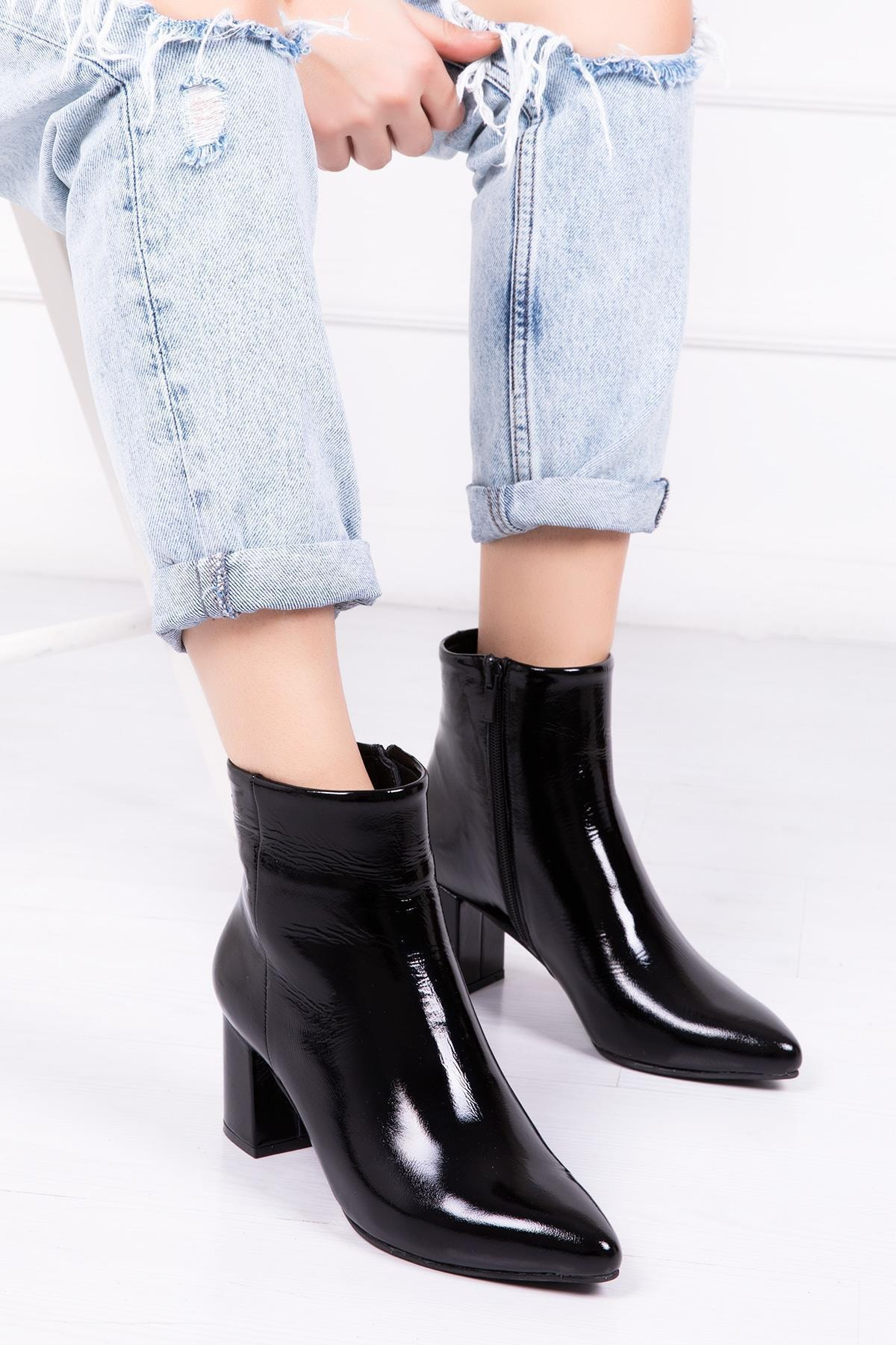 Deripabuc Hakiki Deri Siyah Rugan Kadın Topuklu Deri Bot Dp02-0001 1
