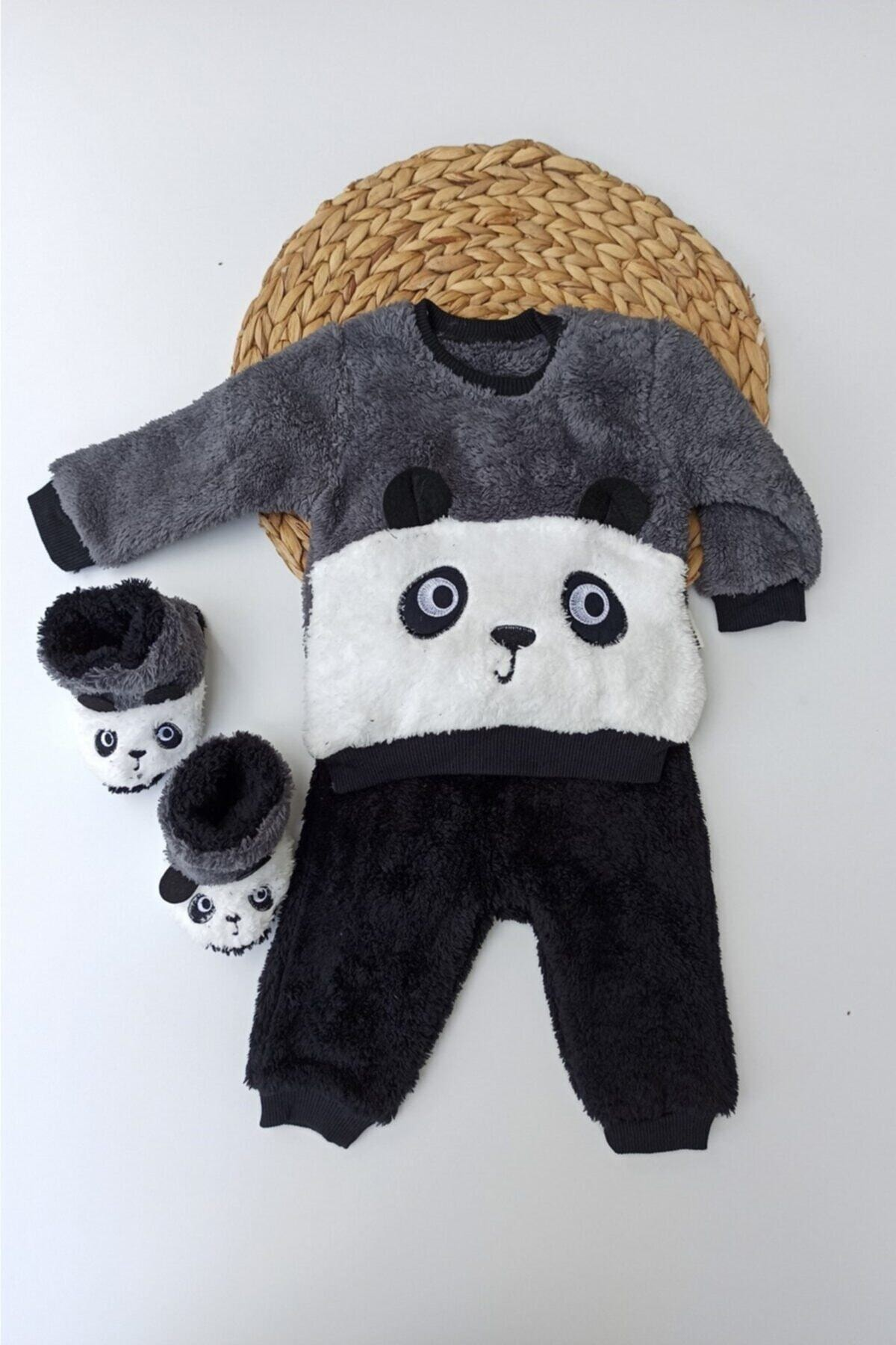 Necix Unisex Gri Panda Desenli Kışlık Welsoft Panduflu Lüx Bebek Takımı 6-9-12 Ay 1