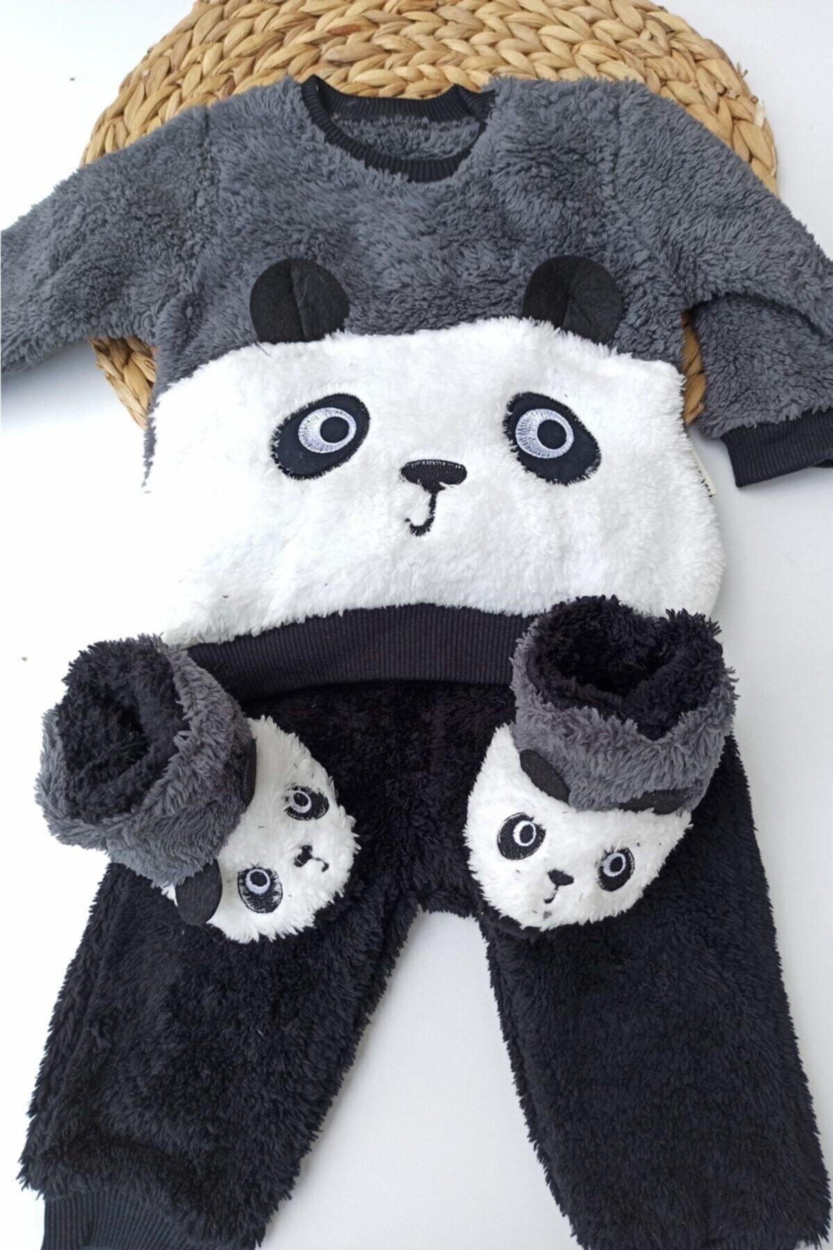 Necix Unisex Gri Panda Desenli Kışlık Welsoft Panduflu Lüx Bebek Takımı 6-9-12 Ay 2