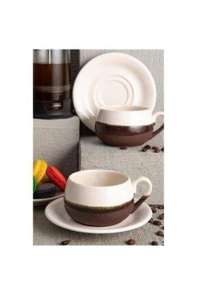Osena Coffe Art El Yapımı Çay Fincanı Kahverengi Krem