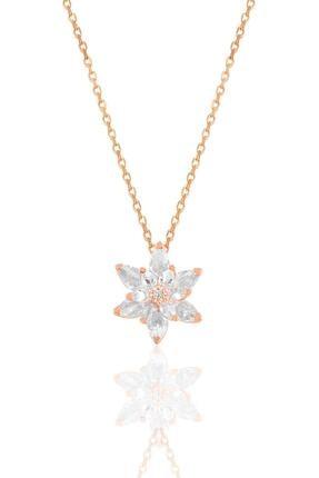 Söğütlü Silver Gümüş Rose Taşlı Nilüfer Lotus Çiçeği Kolye