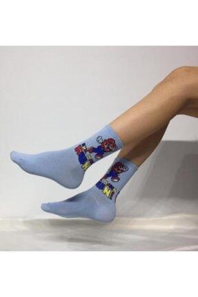 ADEL ÇORAP Kokulu Unisex Super Mario Desenli Kolej Çorabı
