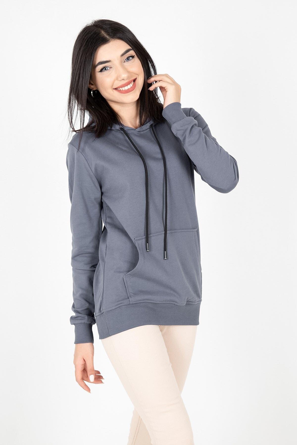 MY LIFE Mylife Kapüşonlu Kanguru Cep Kadın Sweatshirt Füme - Mlf2735 1