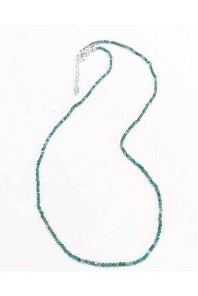 eysell jewellery Apatit 925 Ayar Gümüş 2 Mm Doğaltaş Kolye