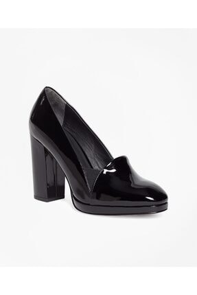 BROOKS BROTHERS Kadın Siyah Rugan Topuklu Ayakkabı