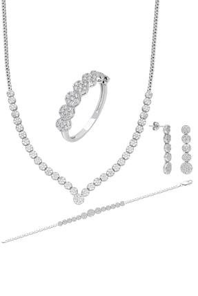 Chavin Su Yolu Gümüş Kolye Küpe Bileklik Yüzük Set Ef97