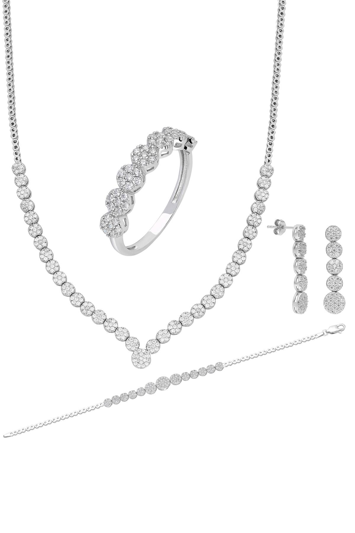 Chavin Su Yolu Gümüş Kolye Küpe Bileklik Yüzük Set Ef97 1